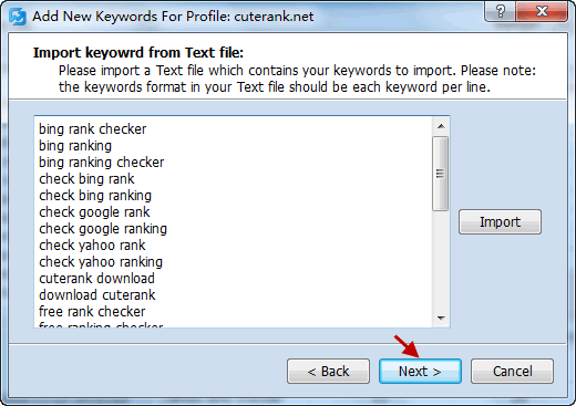 Import Keywords from Text File Screenshort 2